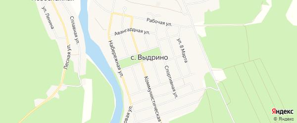 Карта села Выдрино в Бурятии с улицами и номерами домов