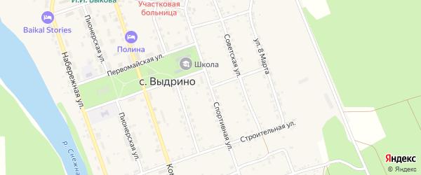 Спортивная улица на карте села Выдрино с номерами домов