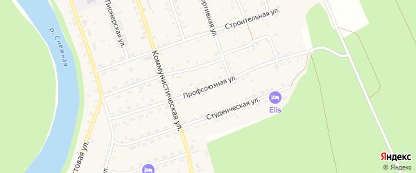 Профсоюзная улица на карте села Выдрино с номерами домов