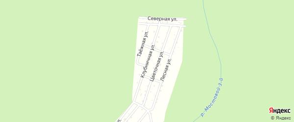Клубничная улица на карте садового некоммерческого товарищества Зари с номерами домов