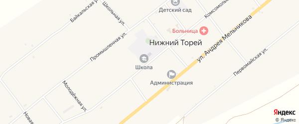 Комсомольская улица на карте села Нижнего Торея с номерами домов
