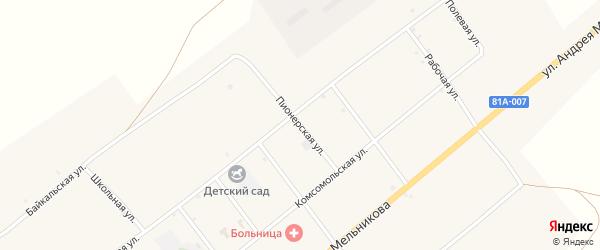 Пионерская улица на карте села Нижнего Торея с номерами домов