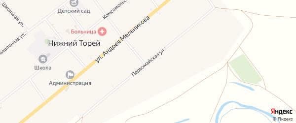 Первомайская улица на карте села Нижнего Торея с номерами домов