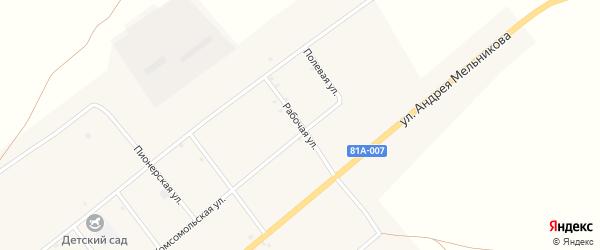 Рабочая улица на карте села Нижнего Торея с номерами домов