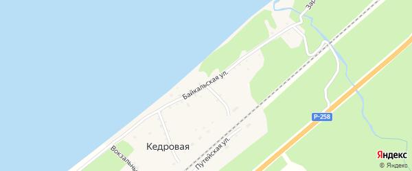 Байкальская улица на карте поселка Кедровой с номерами домов