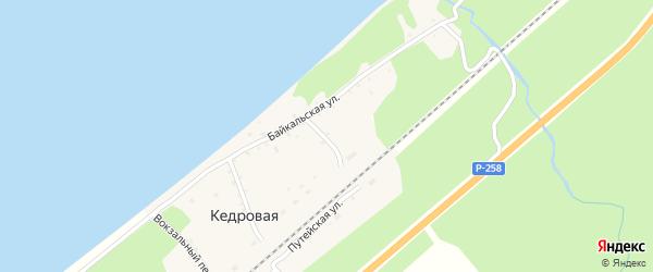 Дачная улица на карте поселка Кедровой с номерами домов