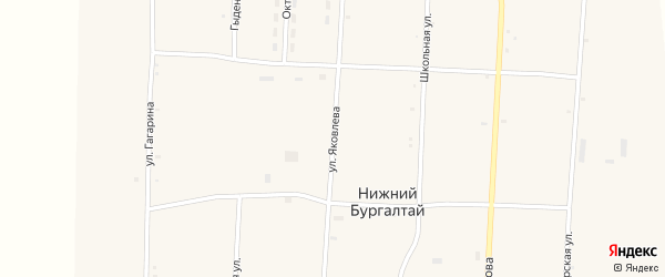 Улица Яковлева на карте улуса Нижнего Бургалтая с номерами домов