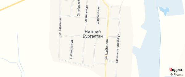 Карта улуса Нижнего Бургалтая в Бурятии с улицами и номерами домов
