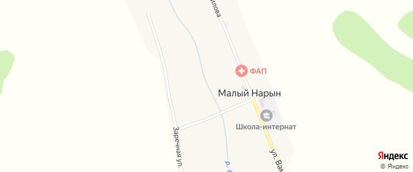 Заречная улица на карте улуса Малого Нарына с номерами домов