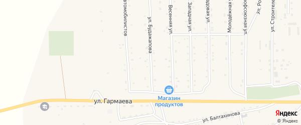Улица Будажапова на карте села Петропавловки с номерами домов