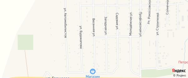 Весенняя улица на карте села Петропавловки с номерами домов