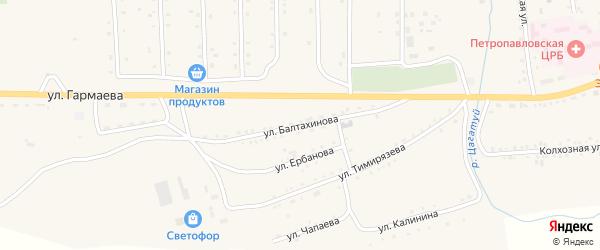 Улица Балтахинова на карте села Петропавловки с номерами домов