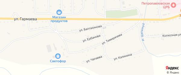 Улица Ербанова на карте села Петропавловки с номерами домов
