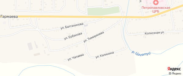 Улица Тимирязева на карте села Петропавловки с номерами домов