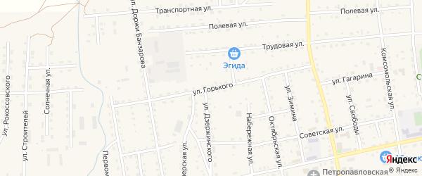 Улица Горького на карте села Петропавловки с номерами домов