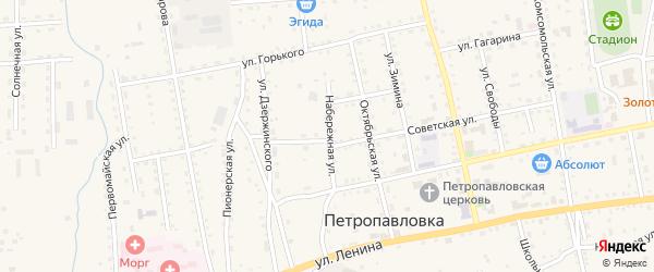 Набережная улица на карте села Петропавловки с номерами домов