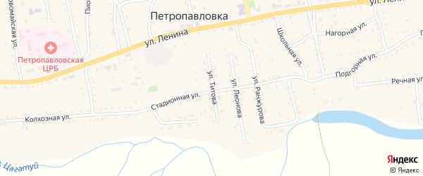 Улица Титова на карте села Петропавловки с номерами домов