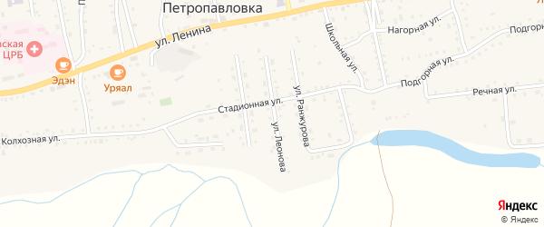 Улица Леонова на карте села Петропавловки с номерами домов