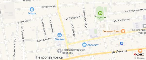 Улица Свободы на карте села Петропавловки с номерами домов