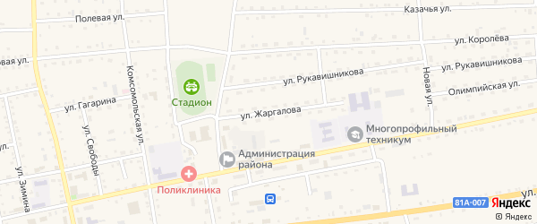 Улица Жаргалова на карте села Петропавловки с номерами домов