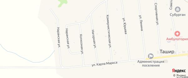 Нагорная улица на карте улуса Ташир с номерами домов
