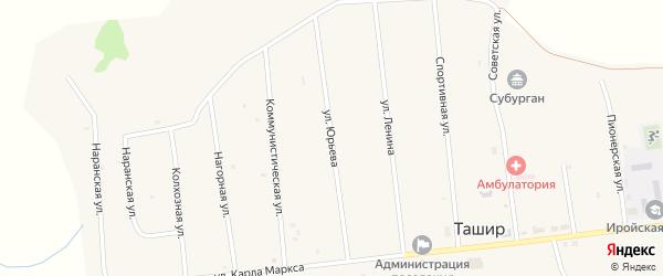 Улица Юрьева на карте улуса Ташир с номерами домов