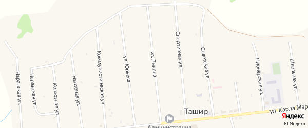 Улица Ленина на карте улуса Ташир с номерами домов