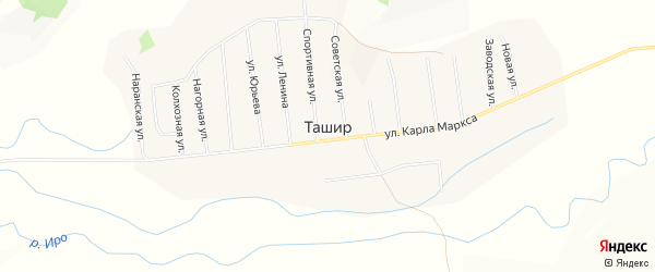 Местность Булагшин Хунды на карте улуса Ташир с номерами домов