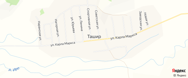 Местность Убур-Ташир на карте улуса Ташир с номерами домов