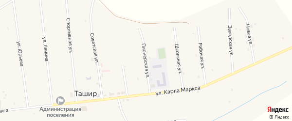 Пионерская улица на карте улуса Ташир с номерами домов