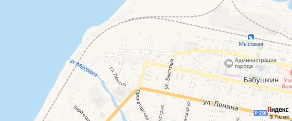Пролетарская улица на карте Бабушкина с номерами домов