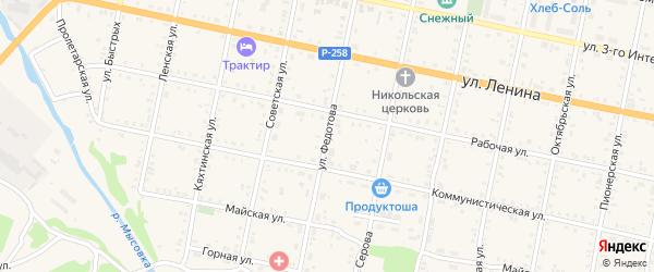 Улица Федотова на карте Бабушкина с номерами домов