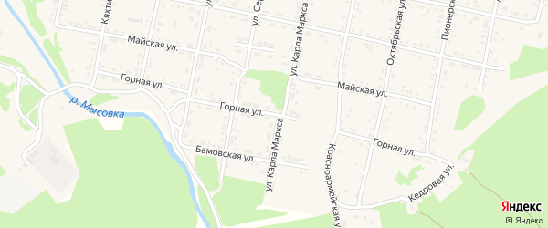 Горная улица на карте Бабушкина с номерами домов