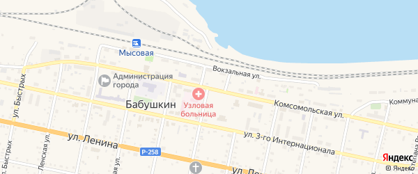 Комсомольская улица на карте Бабушкина с номерами домов