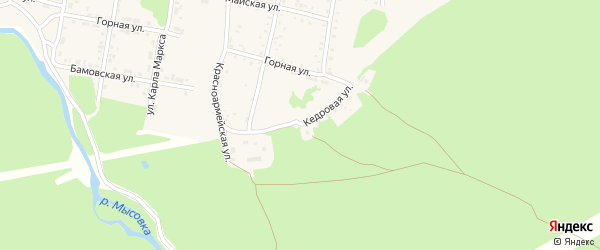 Кедровая улица на карте садового некоммерческого товарищества Цементника с номерами домов