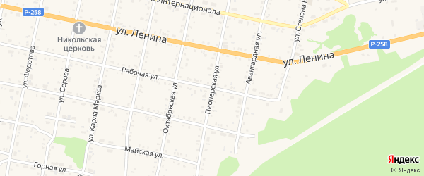 Пионерская улица на карте Бабушкина с номерами домов