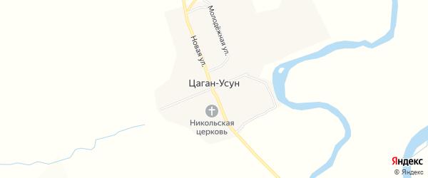 Карта села Цагана-Усуна в Бурятии с улицами и номерами домов