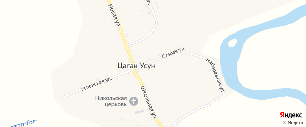 Набережная улица на карте села Цагана-Усуна с номерами домов