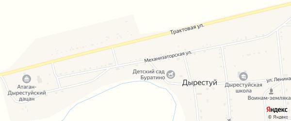 Механизаторская улица на карте улуса Дырестуй с номерами домов