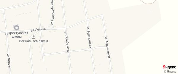 Улица Будажапова на карте улуса Дырестуй с номерами домов