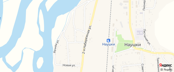 Набережная 2-я улица на карте поселка Наушек с номерами домов