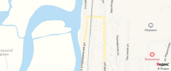 Набережная 3-я улица на карте поселка Наушек с номерами домов