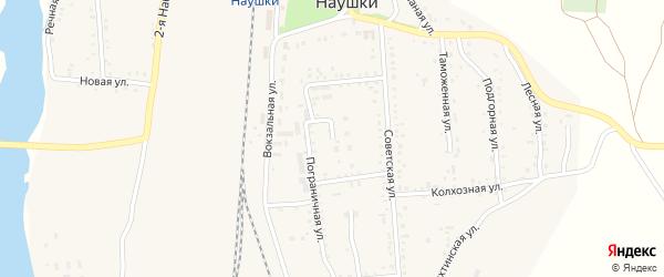 Пограничная улица на карте поселка Наушек с номерами домов