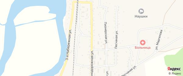 Железнодорожная улица на карте поселка Наушек с номерами домов