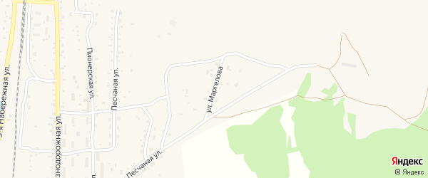 Улица Маргелова на карте поселка Наушек с номерами домов