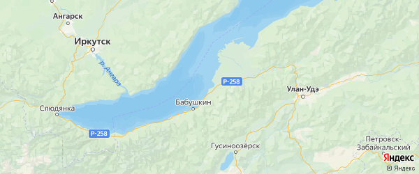 Карта Кабанского района республики Бурятия с населенными пунктами и городами