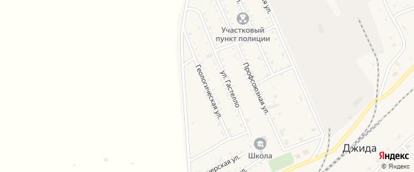 Геологическая улица на карте поселка Джиды с номерами домов