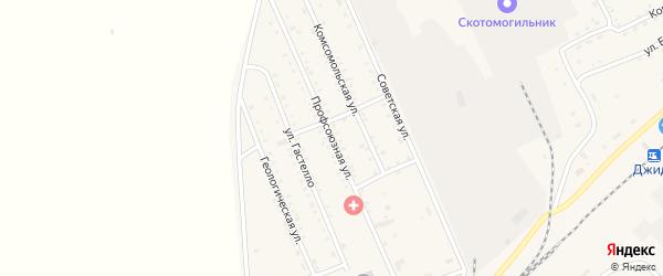Профсоюзная улица на карте поселка Джиды с номерами домов