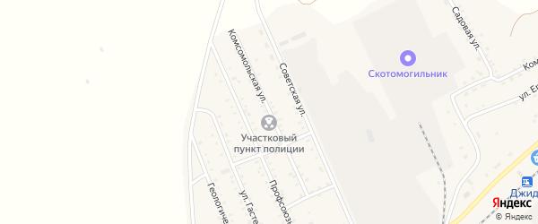 Комсомольская улица на карте поселка Джиды с номерами домов