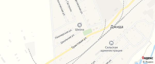 Школьная улица на карте поселка Джиды с номерами домов